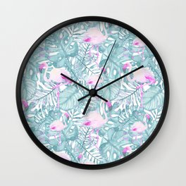 Neon pink green watercolor flamingo tropical leaves Wall Clock