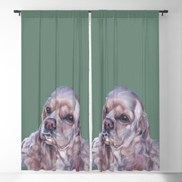 American Cocker Spaniel dog art portrait from an original painting by L.A.Shepard Blackout Curtain