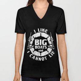 I Like Big Boats I Cannot Lie Cruise Ship T-Shirt Unisex V-Neck