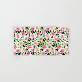 Pink and Green Garden Floral Pattern Hand & Bath Towel