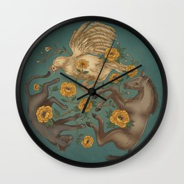 Horse, Cat and Chicken Color Wall Clock