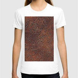 Burnished Rich Brown Tooled Leather T-shirt