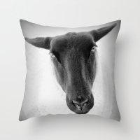 sheep Throw Pillows featuring sheep by Bunny Noir