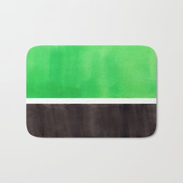 Abstract Midcentury Modern Minimalism Pop Art Colorful Emerald Green Black Squares Rothko Bath Mat