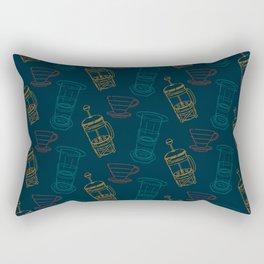 Coffee Brewing Pattern - Navy Rectangular Pillow