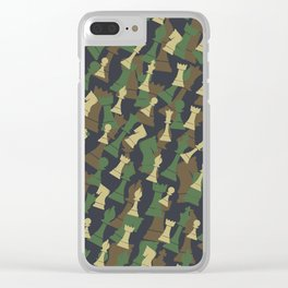 Chess Camo WOODLAND Clear iPhone Case