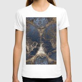 World Map Deep Blue and Gold T-shirt