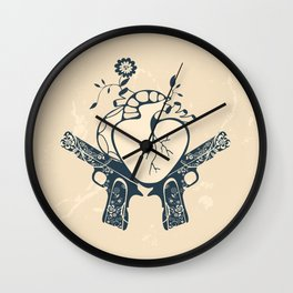 2 guns and one heart Wall Clock
