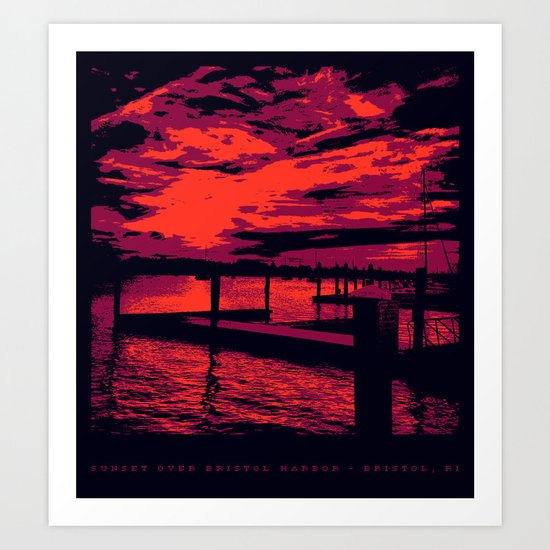 Sunset Over Bristol Harbor Art Print