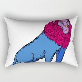 Blue Lion Sitting Wearing Tiara Crown Etching Rectangular Pillow