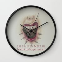mouth Wall Clocks featuring Mouth by Cross-Eyed Morgan