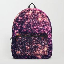 Glitter Galaxy Stars : Mauve Pink Purple Backpack