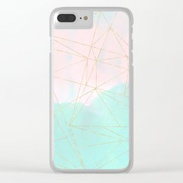 Watercolor abstract and golden triangles design Clear iPhone Case