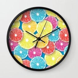 Citrus fruit slices pop art  Wall Clock