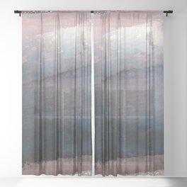 Rose Gold Blush Pink & Blue Watercolor Sheer Curtain