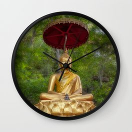 Golden Thai Buddha Wall Clock