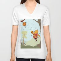 pooh V-neck T-shirts featuring Pooh Rose by Jen Hynds