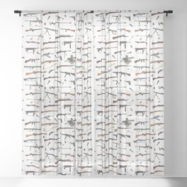 WW2 Weapons Pattern Sheer Curtain