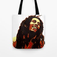 reggae Tote Bags featuring the god of reggae by  Agostino Lo Coco
