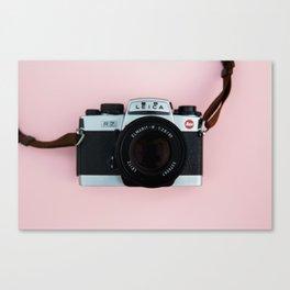 Camera on Blush Pink Background Canvas Print