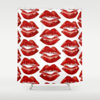 lip Shower Curtains featuring Lip Lines by Regan's World
