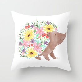 Flowering Hedgehog Throw Pillow