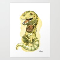 bouletcorp Art Prints featuring Dinosaure à viande by Bouletcorp