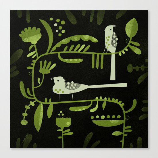 GREEN ON BLACK WITH BIRDS Canvas Print