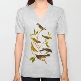 Little Tyrant Flycatcher, Small-headed Flycatcher, Blue Mountain Warbler, Bartram's Vireo, Short-leg Unisex V-Neck