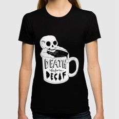 Death Before Decaf Black MEDIUM Womens Fitted Tee