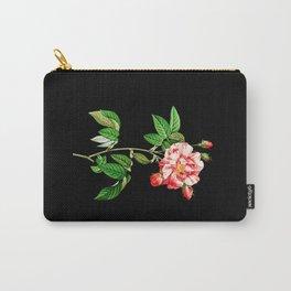 Rosa Gallica Versicolor Black Carry-All Pouch
