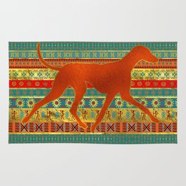 Azawakh Sighthound on African Patern Rug