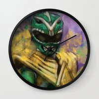 power ranger Wall Clocks featuring Green Mighty Morphin Power Ranger by SachsIllustration