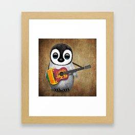 Baby Penguin Playing Sri Lankan Flag Guitar Framed Art Print