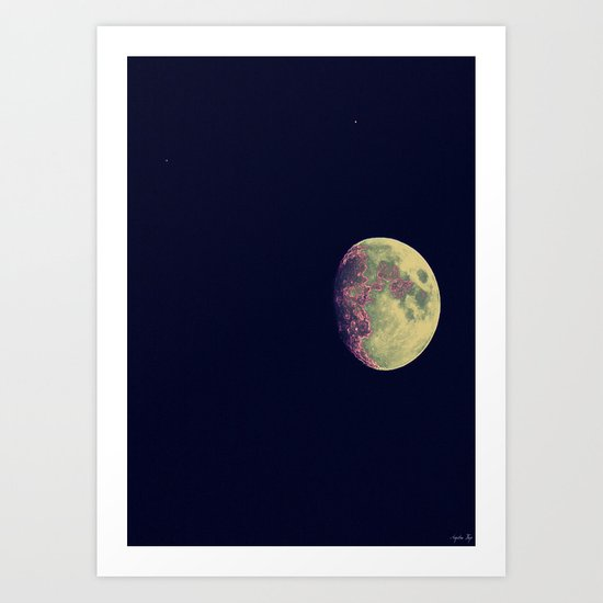 Two Stars and a Moon Art Print