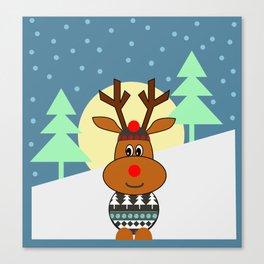 Reindeer in snow Canvas Print