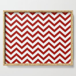 Simple Chevron Pattern - Red & White - Mix & Match with Simplicity of life Serving Tray