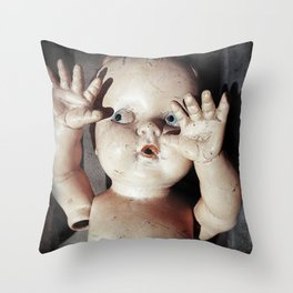 """I see you"" Creepy Scared Doll with Hands Up Throw Pillow"