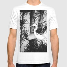 Great Egret In The Trees White MEDIUM Mens Fitted Tee