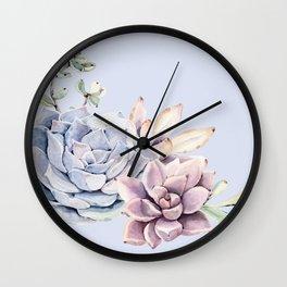 Pristine Blue Succulents Wall Clock