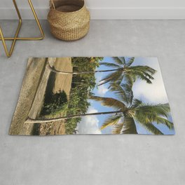 Barbados Palm Trees Along a Roadway Rug