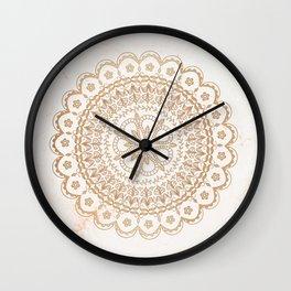 Golden Mandala on golden marble Wall Clock