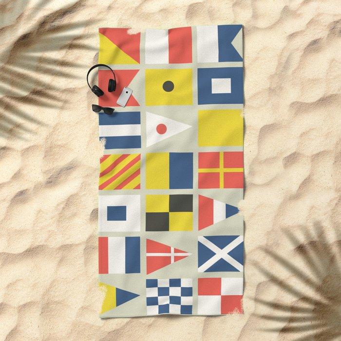 Geometric Nautical flag and pennant Beach Towel