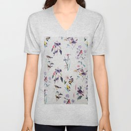 Vintage chic pink teal purple floral birds pattern Unisex V-Neck