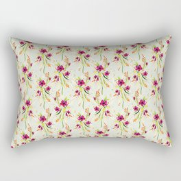 Floral Watercolor on Light Blue Rectangular Pillow