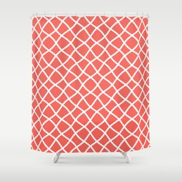 Bright coral and white curved grid pattern Shower Curtain