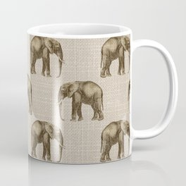 Elephants on Faux Linen Coffee Mug
