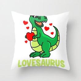 Valentine's Day T-Rex Dino love sweet heart gift Throw Pillow