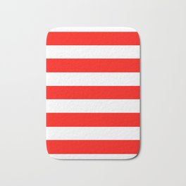Candy apple red - solid color - white stripes pattern Bath Mat