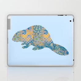 Beaver Vintage Floral Pattern Rustic Country Shabby Chic Blue Yellow Orange Grey Laptop & iPad Skin